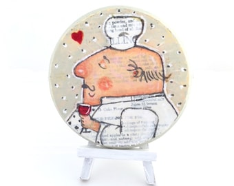 Original Mixed Media Painting of Whimsical Chef, Wall Decor