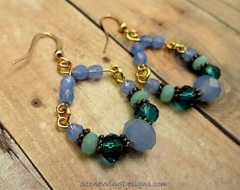 Rustic Boho Earrings, Blue and Green Earrings, Rustic Hoop Earrings, Blue and Green Glass Earrings, Artisan Earrings, Handmade Hoop Earrings