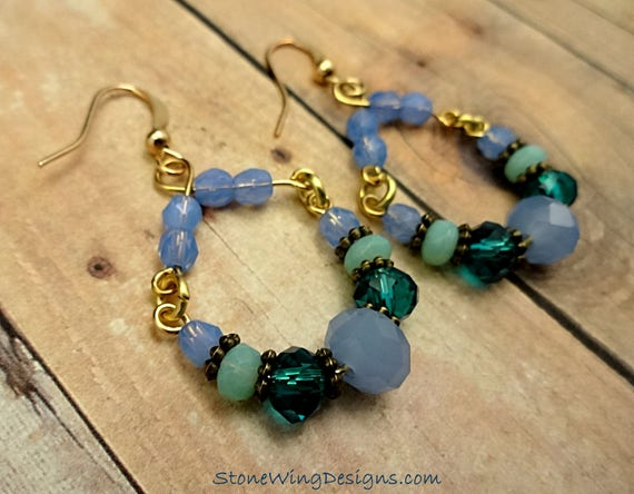 Blue and Green Rustic Boho Hoop Earrings with Czech Firepolish and Antique Brass