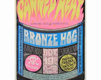 Vintage Canned Heat 1968 Original Poster Full Size RARE Bronze Hog Santa Rosa California