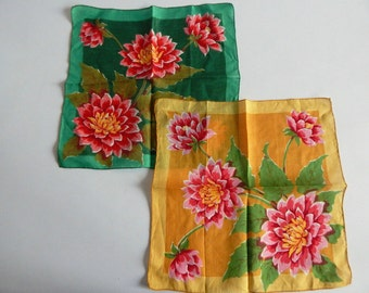 Pair of Pretty Floral Hankies in Two Colorways