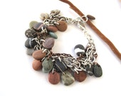Beach Stone Bracelet Mediterranean Pebble Jewelry Rock Charm Bracelet Natural Stone River Stone Bracelet Silver Copper IT ROCKS