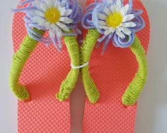 Ladies Orange Flip Flops with Crocheted Lime Green Straps, Lavender Pom Pom and Vintage Daisy