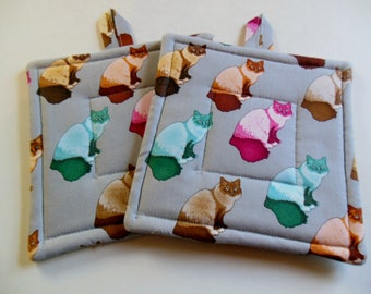 Pair of Fabric Potholders, Set of Two Quilted Potholders, Potholders