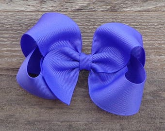 Boutique Hair Bow~Periwinkle/Purple  Boutique Hair Bow~Basic Hair Bow~Medium/Large Hair Bow~Solid Color Hair Bows~Simple Boutique Bow