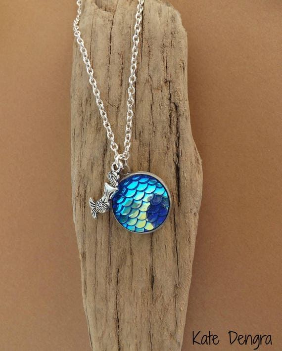 Iridescent Blue Mermaid Scale Necklace Fish Scale Shore Things by Kate Dengra Spain Beach Ocean Theme