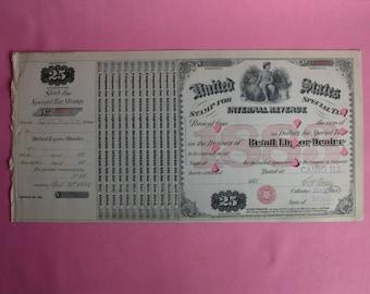 Antique Whiskey Dealer Tax Stamp 1883 Cairo, ILLinois Retail Liquor Dealer Bar Civil War Era USIR