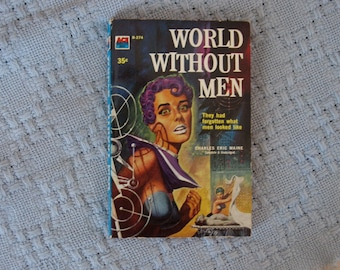 Vintage Paperback Science Pulp Fiction World Without Men 1958 Great Cover Art