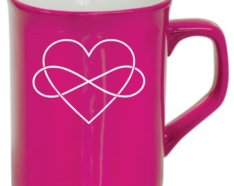 Valentines Coffee Mug - Valentines Day Gift - Infinity Heart - Pink Coffee Mug 10oz - Personalized Mug - Drinkware - Gifts for Her