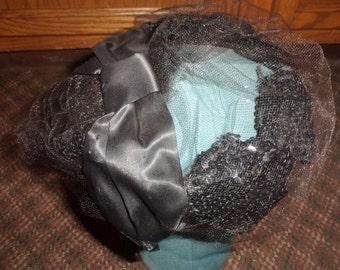 vintage ladies hat ladies hat black sequins netting silk bow