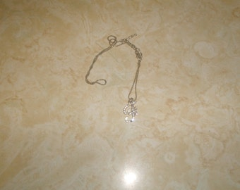 vintage necklace silvertone chain rhinestones letter initial f
