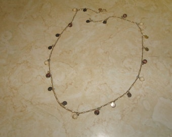 vintage necklace goldtone chain coin lucite beads dangles