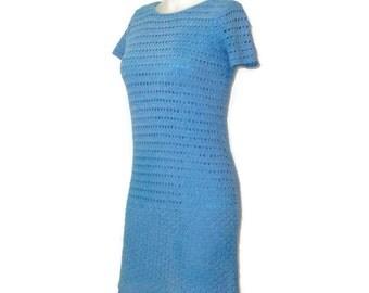 1960s Crochet Dress Blue Crochet Dress MOD Summer Dress Blue Body Con Dress Blue Mini Dress Go Go Dress MOD 60s Blue Dress Blue Summer Dress