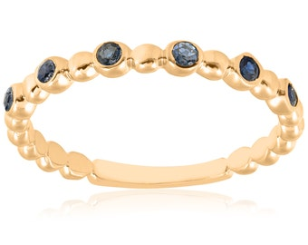 Blue Sapphire 14k Yellow Gold Ring Womens Stackable Wedding Band High Polished 1/8ct Round Cut
