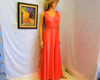 70s M Empire Goddess Flared A Line Beaded Dress Evening Gown Apricot Coral Bluebird