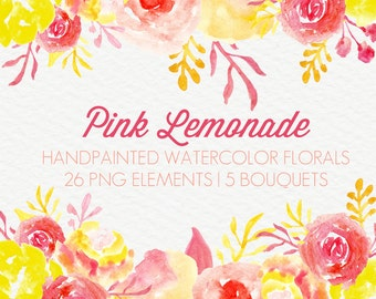 Pink Lemonade Abstract Watercolor Flowers Floral Clip Art Digital Handpainted Roses Blooms PNG Wedding Invitation Small Commercial Use OK