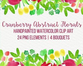 Cranberry Abstract Watercolor Flowers Floral Clip Art Digital Handpainted Roses Blooms PNG Wedding Invitation Small Commercial Use OK