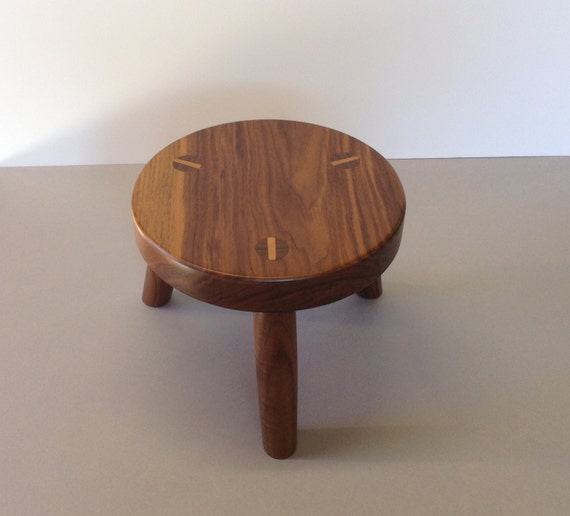 Wood Footstool Wooden Foot Stool Solid Black Walnut