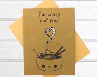 Pho Love Card - Valentines Day Card - Boyfriend Card - Kawaii Card - Love Card For Him - Cute I Love You Card - Card for Husband