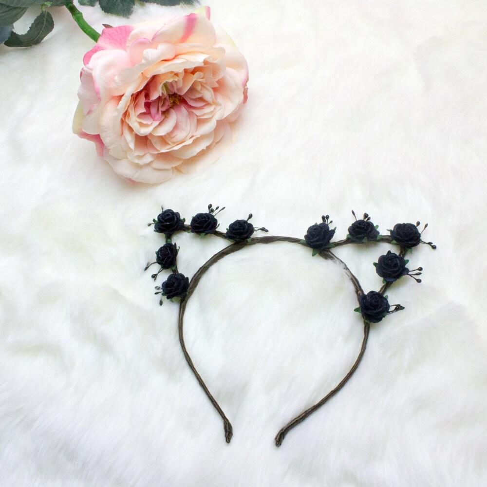 Black Floral Crown Cat Ears Floral Cat Headband Cat Ears