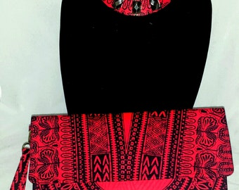 Red/Black Dashiki Angelina fabric purse/wristlet and necklace set