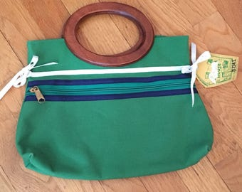 Vintage 1970s Banner House New Old Stock Kelly Green Cotton Wood Handled Bermuda Bag Spring Summer Purse
