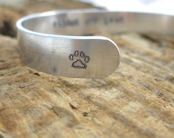 Rescue and Love Hand Stamped Cuff Bracelet // Animal Lover // Ready to Ship // Silver Tone // Paw Print // Animal Rescue // Adopt
