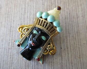 vintage enameled Blackamoor Pin - woman, princess, gold, aqua, crown, royal, royalty