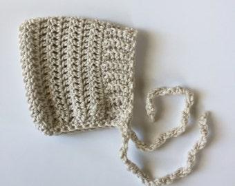 ELLIOT - crochet pixie baby bonnet - linen  - MADE to ORDER