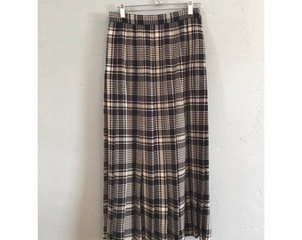 White and Black High Waisted Pleated Wool Maxi Skirt