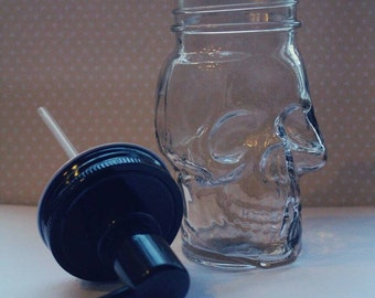 "Custom Engraved Clear Glass ""Skull"" Soap Dispenser - Black Lid/Pump - Engraving Included"