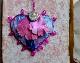 One of a kind 'Protection' Talisman necklace w/ precious antique ikat indigo & pink fabric, silk velvet flower, love heart pendant
