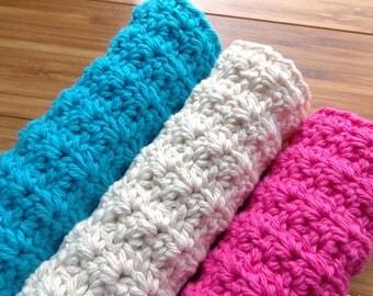 Fan Stitch Luxurious Spa Cloth Exfoliating Washcloth Crochet Pattern PDF