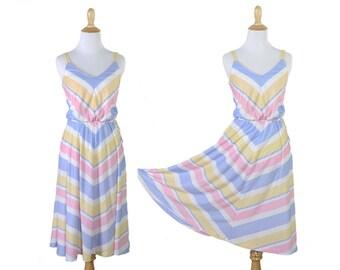 Vintage 1970s Preppy Pastel Striped Summer Dress