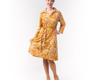 1970's  Knit Polyester Abstract Paisley Dress/ 70's Plus Size Swing Dress