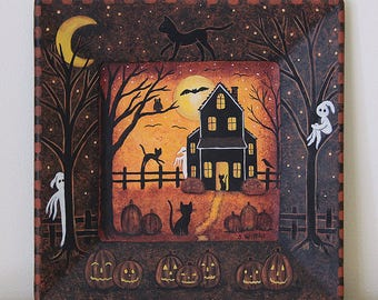 Halloween Folk Art Primitive Painting, Hand Painted Square Wood Plate, Spooky Saltbox House, Black Cats, Moon, Ghosts, MADE TO ORDER