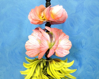 Peach Floral Pirouette Pinwheel Whirligig Spinner Windmill Fan