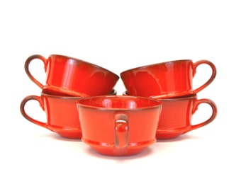 Vintage Metlox 'Red Rooster Red' Poppytrail Tea Cups, Set of 5 (E8320)