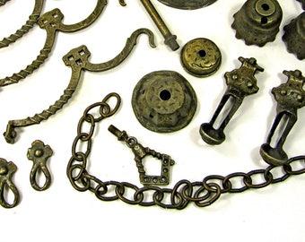 Chandelier Parts Heavy Cast Metal Antique Pewter Finish Tudor 1930s