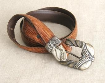 Belts, Western Style Belt, Honey, Vicenza, Silver Buckle, Fashion Belt, Mens Belt, Teju Lizard, Lizard Belt, Silver Tip, Belts, Skin Belts