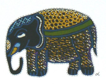 Fabric Note Card, Framable Note Card, Fabric Applique, Textile Note Card, Fabric Collage Card, Elephant Applique, Art Note Card
