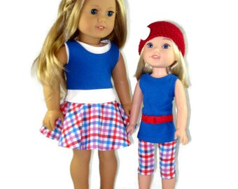 18 inch doll clothes, Skater skirt, top and tank, made to fit like American Girl® Doll doll clothes