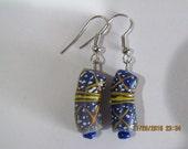 Blue Tribal Design Earrings