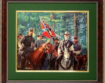Lee and Jackson Model Partnership By Mort Kunstler Framed Matted By Mort Kustler Framed & Matted
