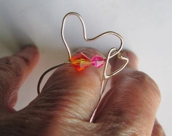 Silver Wire Heart Ring ./. Two Hearts Ring ./. Dainty Heart Ring ./. Valentine gift ring ./. Made in Sweden ./. Bague argent ./. Heart Ring