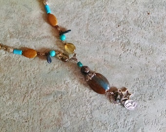 Bohemian blue brown statement necklace, Silver, turquoise, brown agate, pearl, jasper long statement necklace