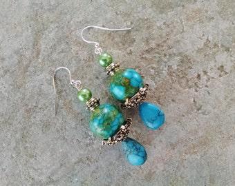 Turquoise dangle earrings, Turquoise teardrop silver green pearl dangle earrings