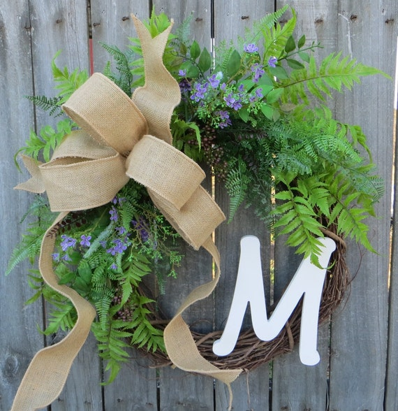 Door Wreath ,Everyday Wreath, Wreath with Burlap Bow, Wreath for All Year Round, Wreath with Monogram, Housewarming Gift, Splash of Purple
