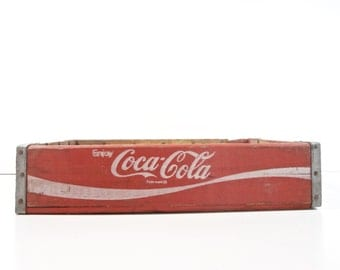 Vintage Wood Coca-Cola Soda Pop Crate / Soda Bottle Carrier / Rustic Storage