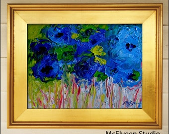 Indigo  - Original Abstract Painting Floral Painting by Claire McElveen , Available  Framed and Ready To Hang